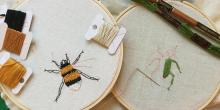embroider of a bee and beetle